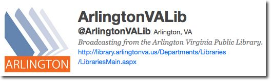 Screenshot of @ArlingtonVALib Twitter bio